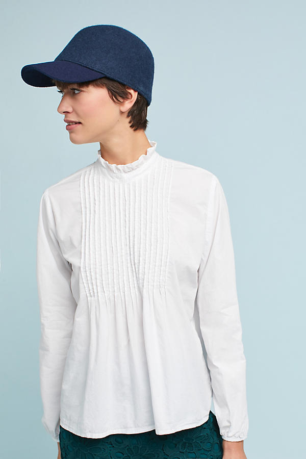Poplin High-Neck Blouse