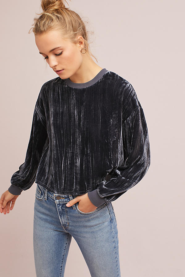 Velvet Cropped Sweatshirt
