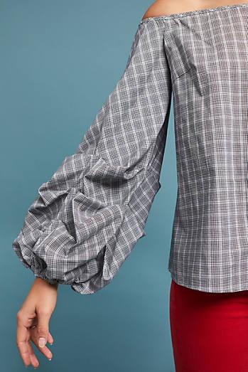 Gridwork Off-The-Shoulder Blouse