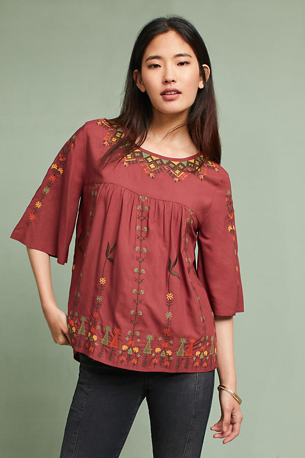 Gale Embroidered Flutter-Sleeve Top