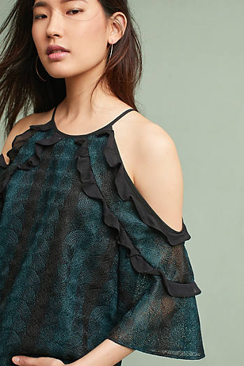 Gwyneth Open-Shoulder Lace Blouse