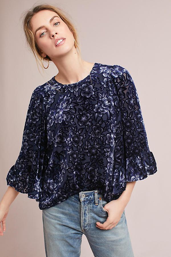 Velvet Kimono-Sleeve Blouse