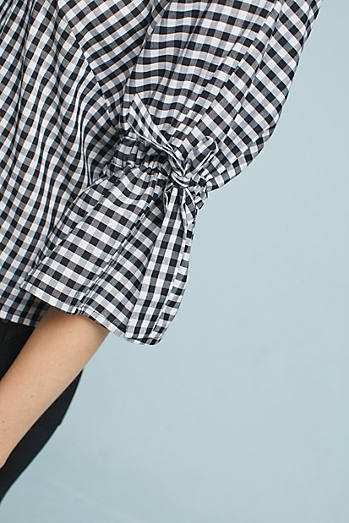 Gingham Tie-Sleeve Blouse