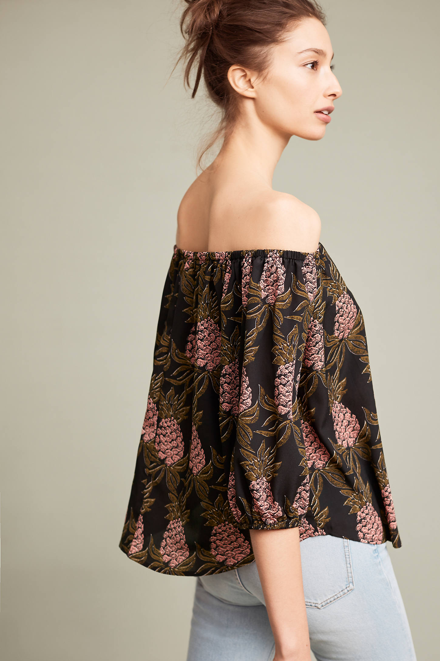 Pineapple Off-The-Shoulder Blouse