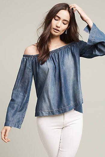 Chambray Off-The-Shoulder Top