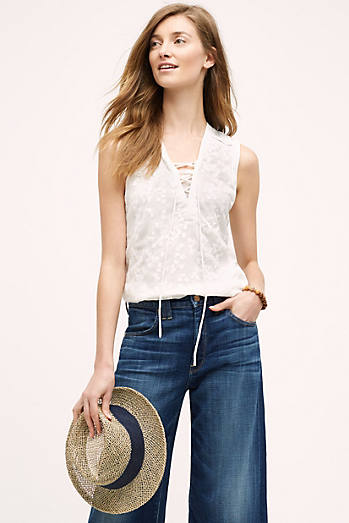 Embroidered Lace-Up Tank