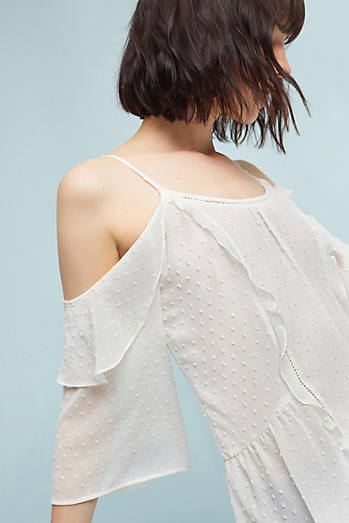 Dotted Open-Shoulder Blouse