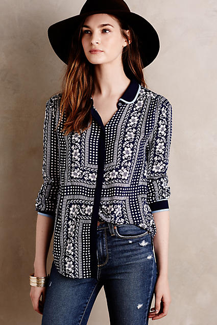 Shoptagr art house buttondown by maeve for Online stores like anthropologie