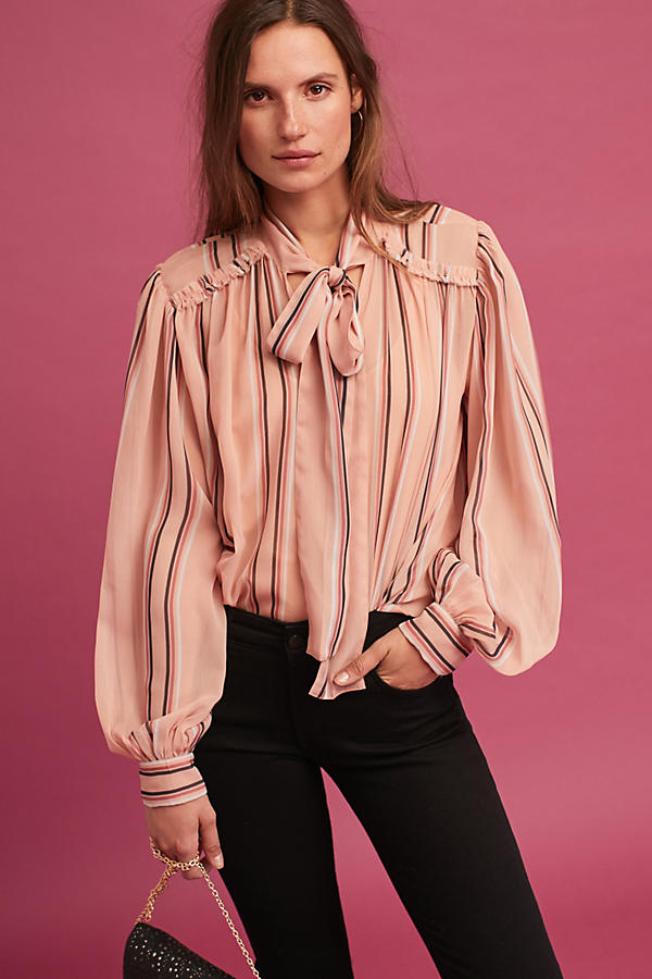 Sheerstripe Tie-Neck Blouse