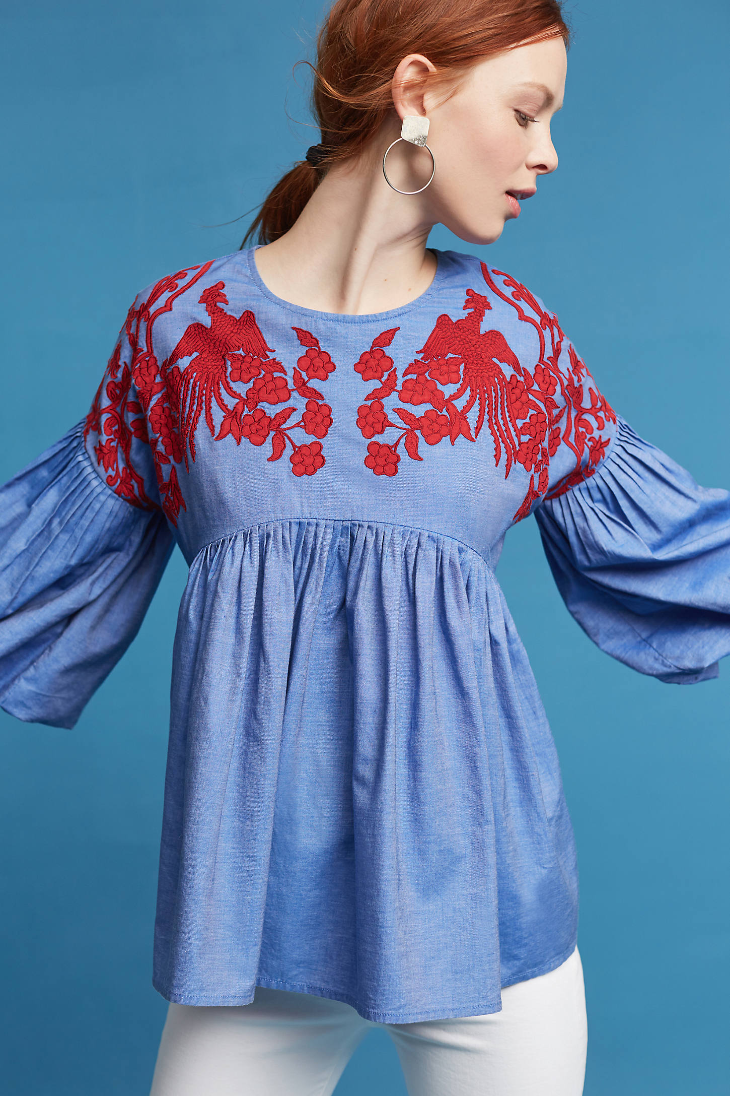 Lianna Embroidered Chambray Blouse, Blue