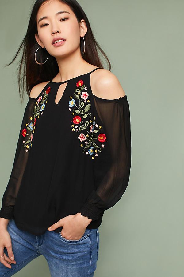 Floral Embroidered Open-Shoulder Top