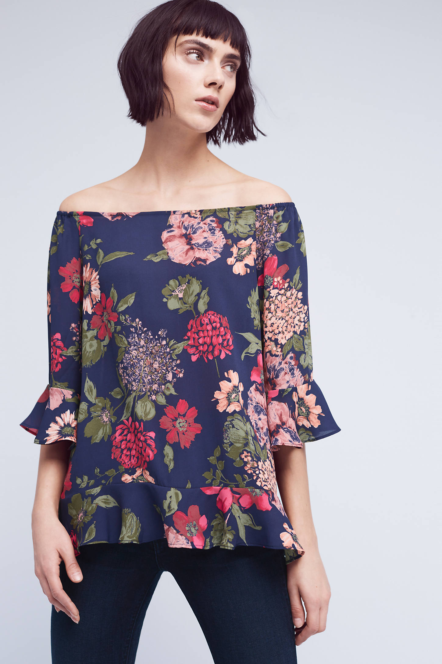 Zelma Floral Off-The-Shoulder Top, Blue