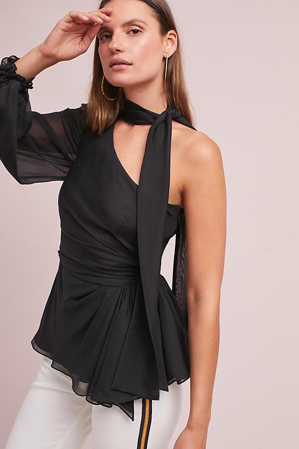 Katty Silk One-Shoulder Blouse