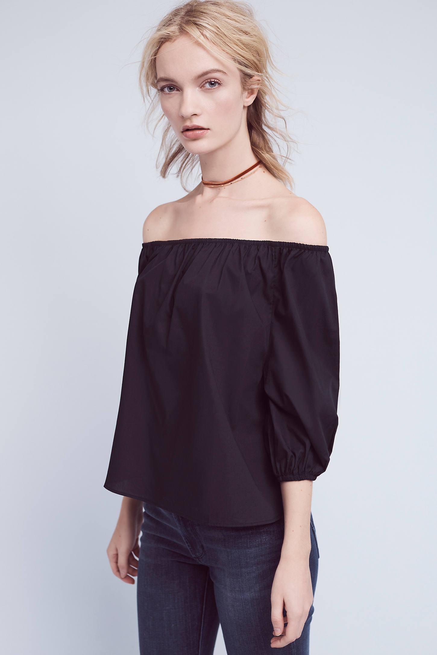 Fay Poplin Off-The-Shoulder Blouse, Black