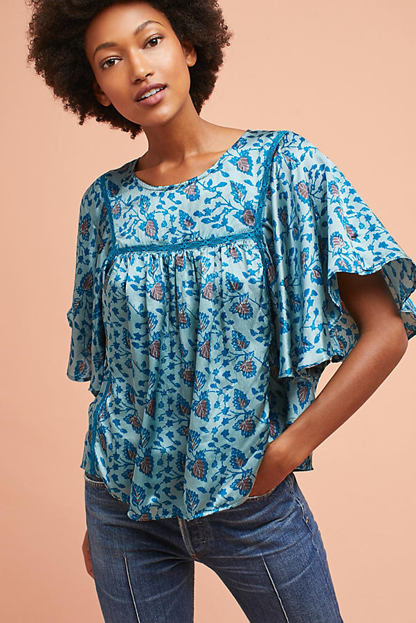 Printed Ruffle-Sleeve Blouse