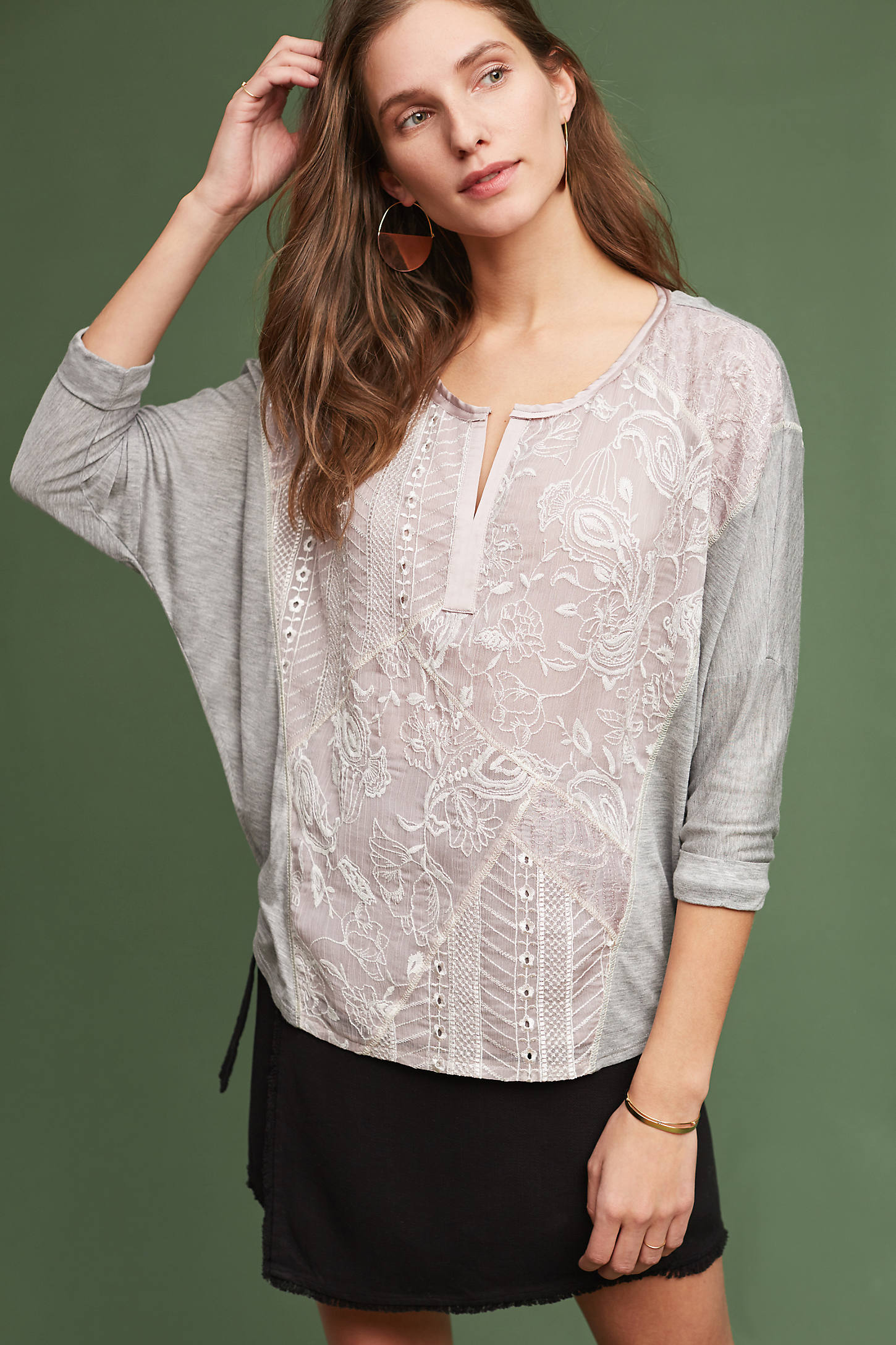 Hazel Lace Top, Grey