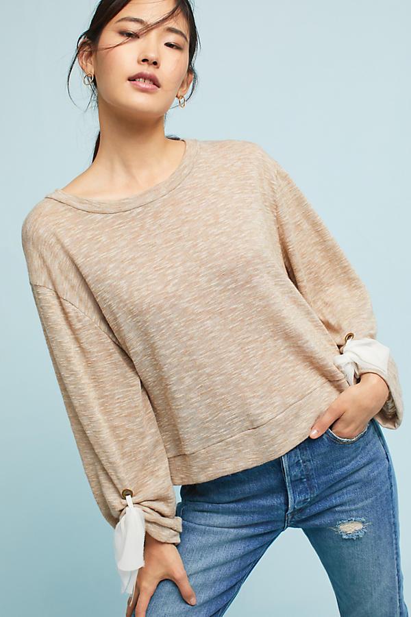 Chiffon-Tied Sweatshirt