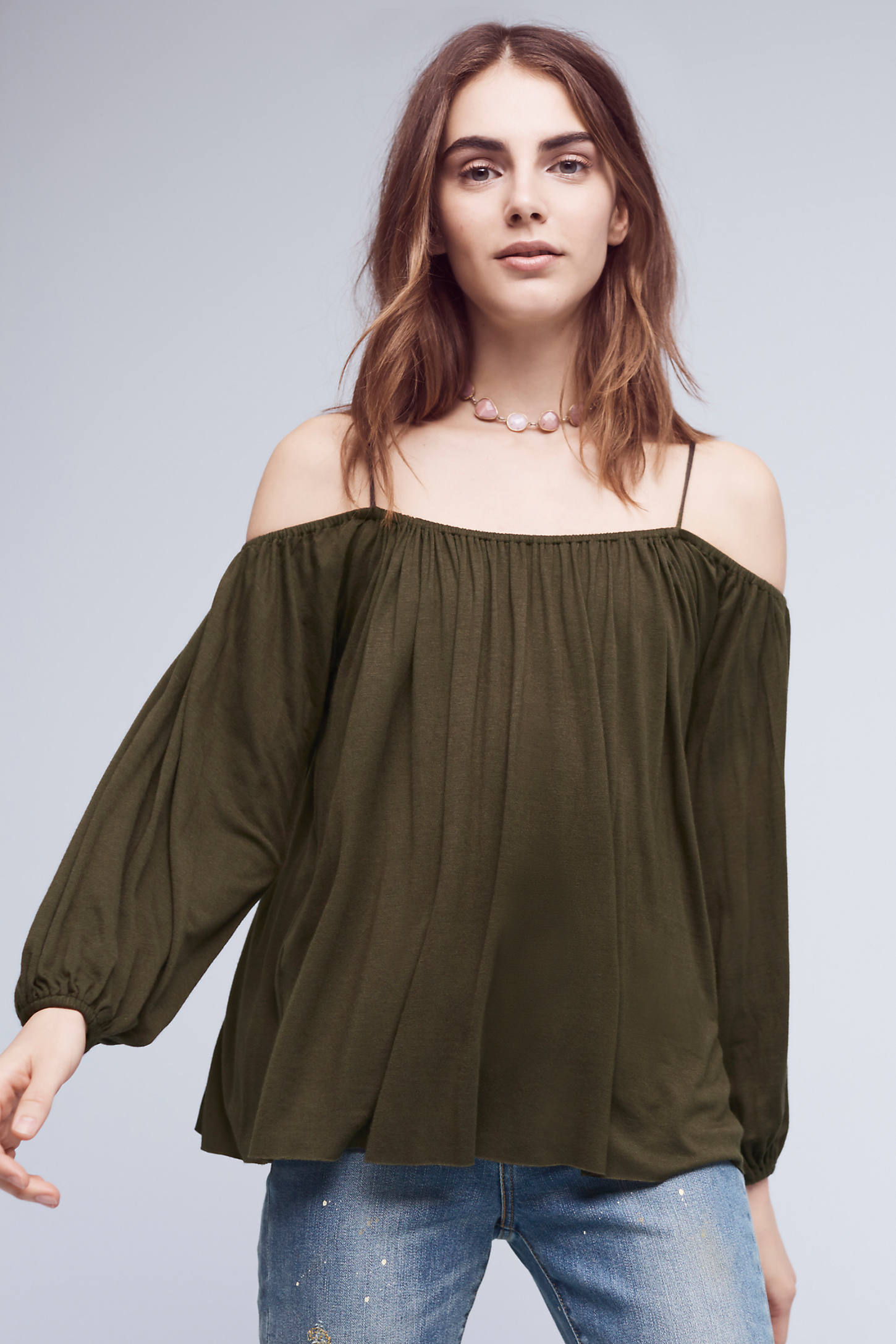 Taven Open-Shoulder Top, Green