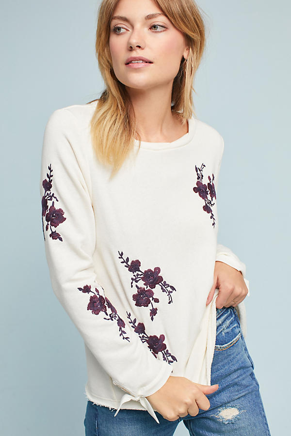 Embroidered Tie-Sleeve Sweatshirt