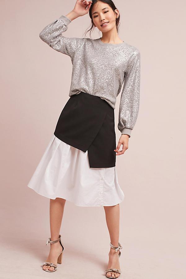 Pleated-Sleeve Metallic Pullover