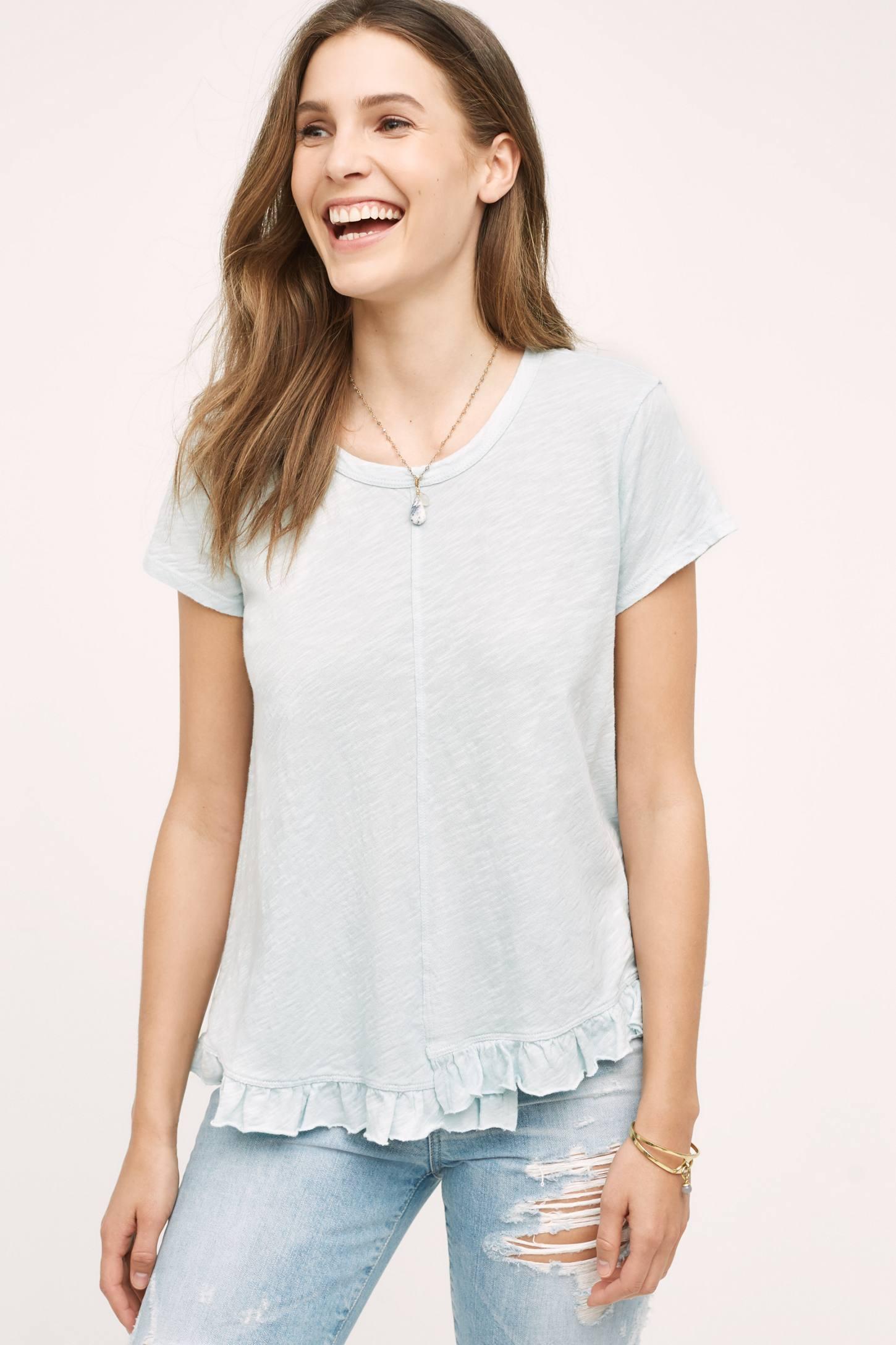 Fabia Ruffled Hem T-Shirt, Blue