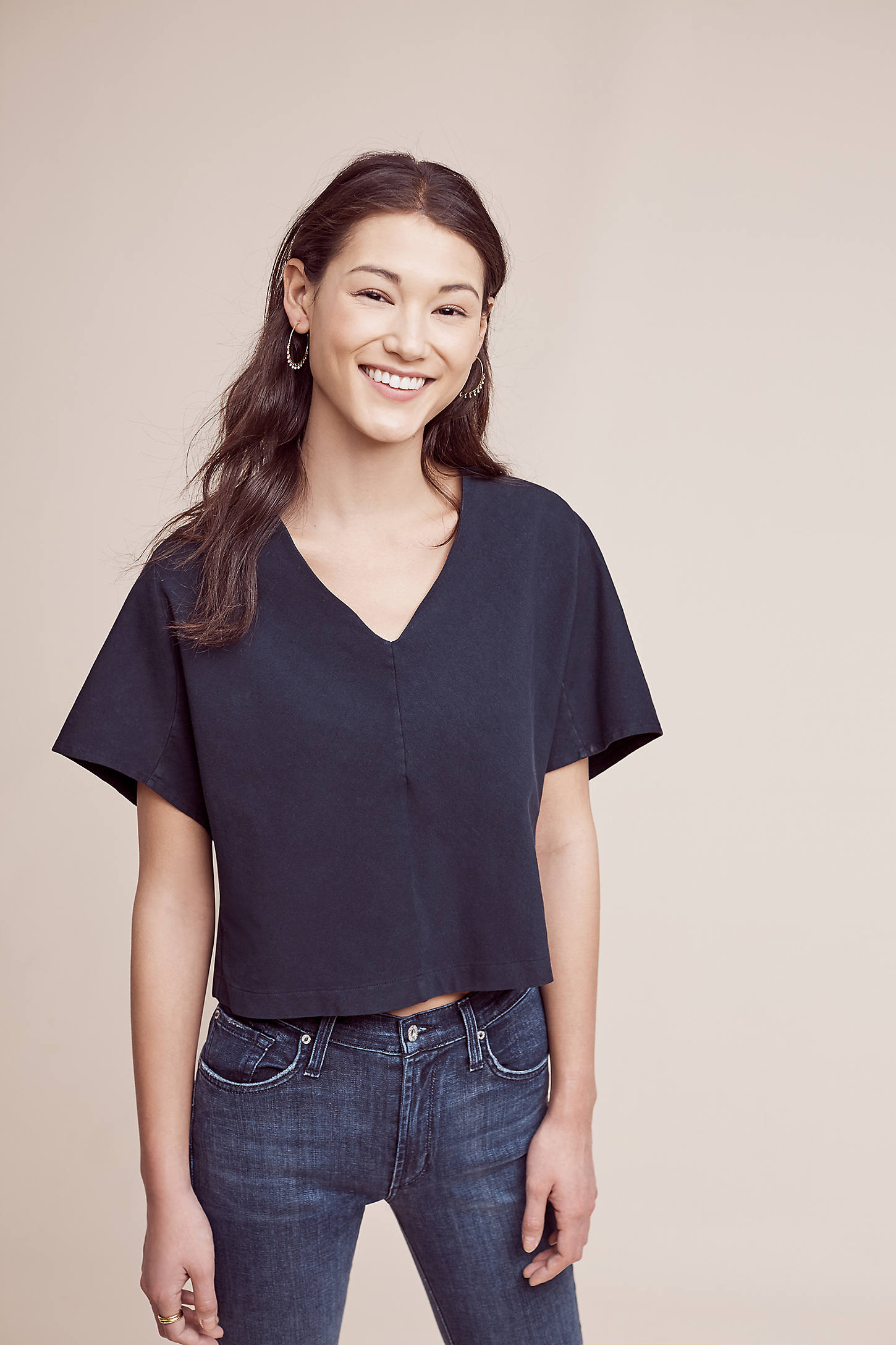 Cropped Envelope Top, Navy