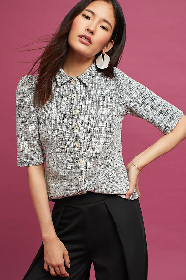 Puff-Sleeve Buttondown