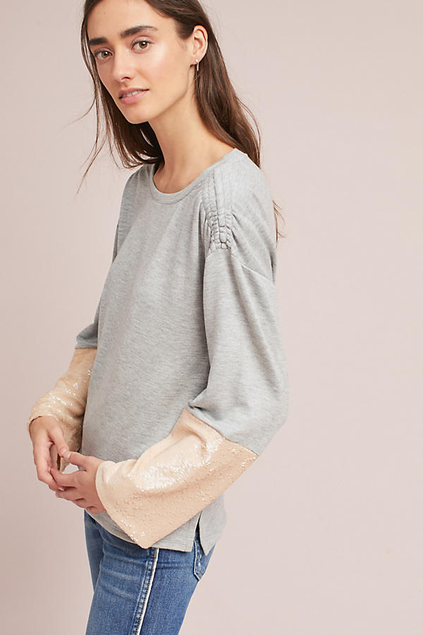 Sequin-Sleeved Sweatshirt