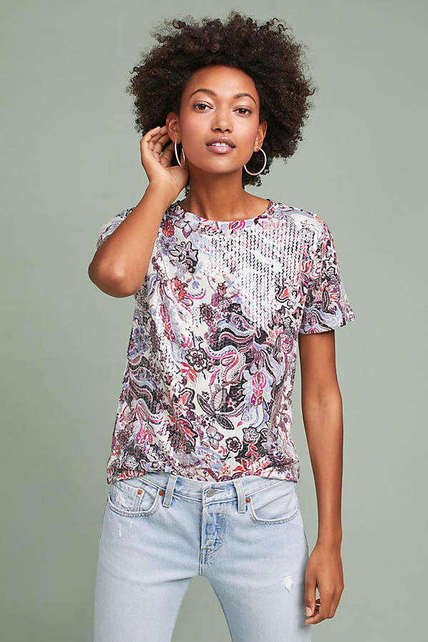 Sequined Print Tee
