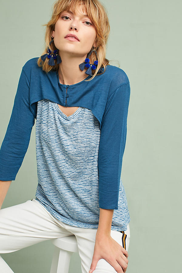 Brushed Fleece Layered Top
