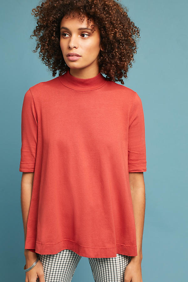 Woven Mock Neck Pullover
