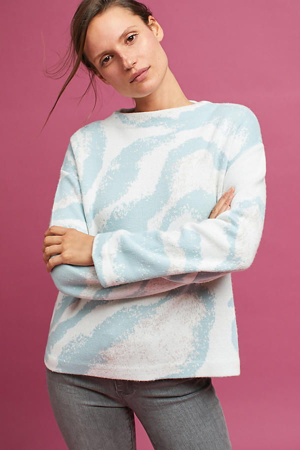 Intarsia Wave Pullover