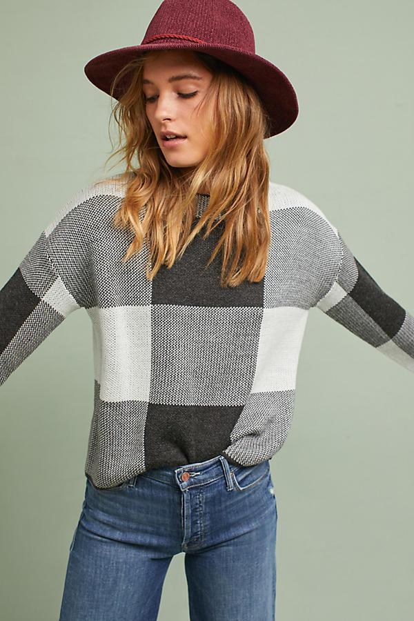 Intarsia Check Pullover