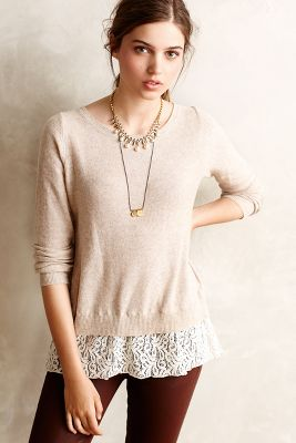 Lace-Parted Pullover