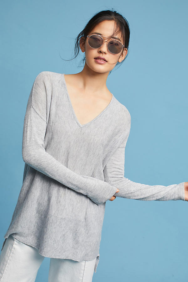 High-Low V-Neck Pullover