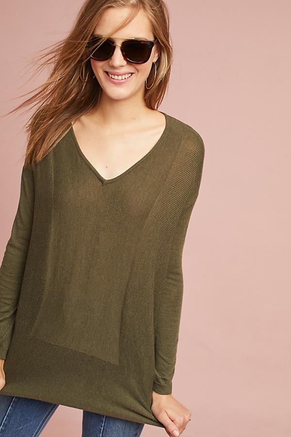 High-Low V-Neck Pullover