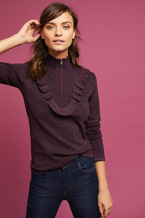 Ruffled Zip Turtleneck