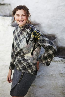 Petaled Plaid Pullover