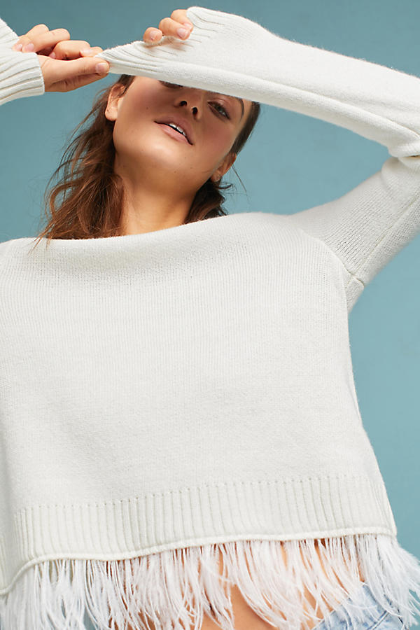Feathered-Hem Pullover