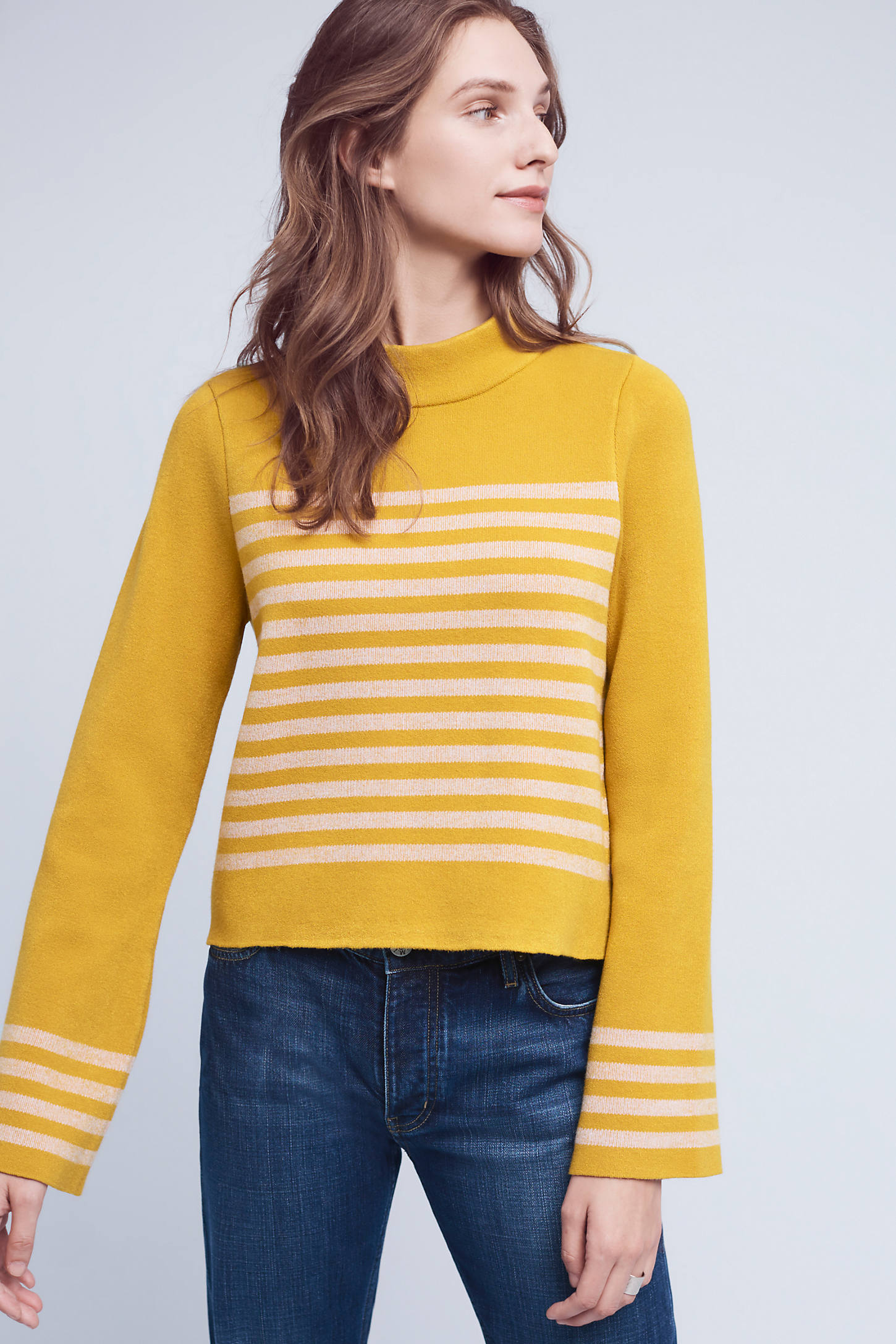 Structured Stripe Top, Yellow