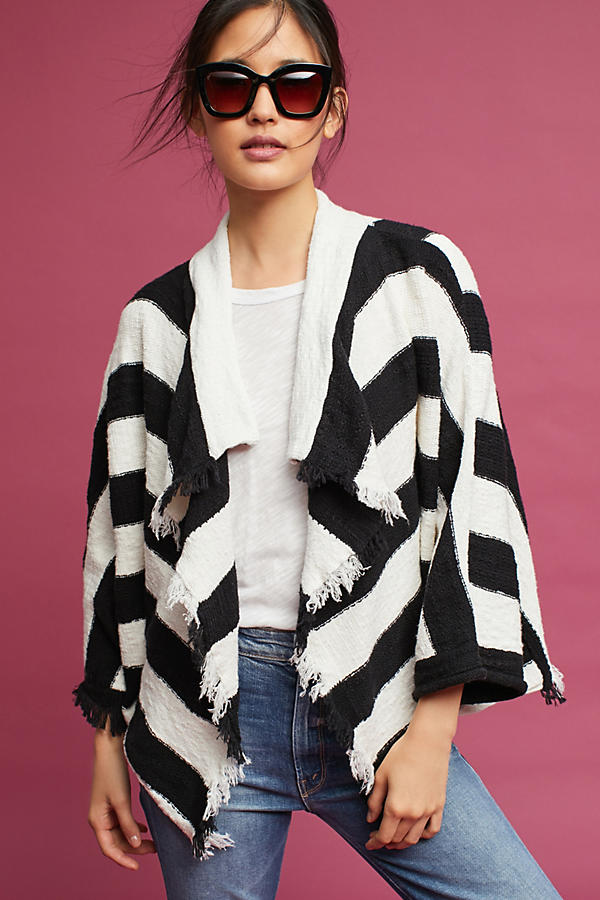 Fringed & Striped Cardigan