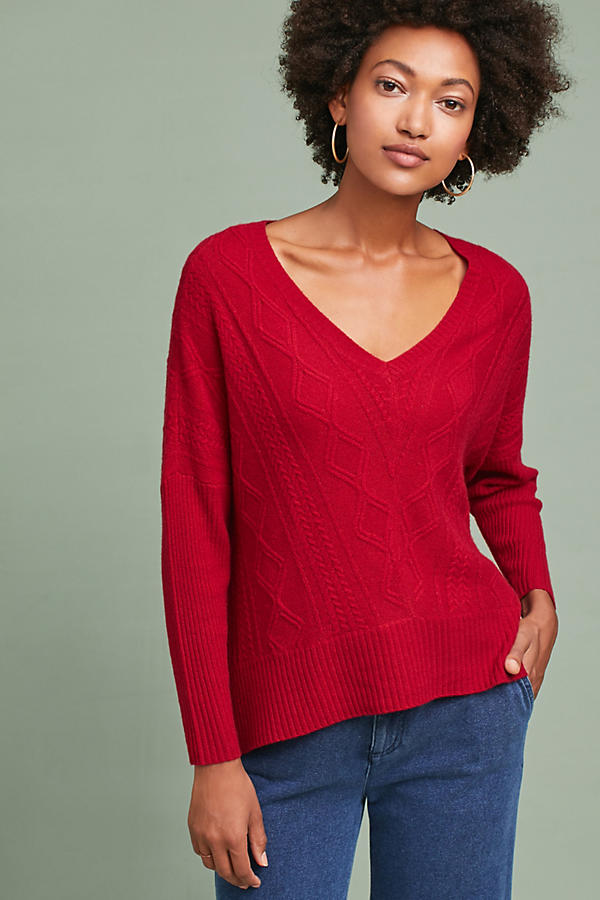 Cashmere Cabled V-Neck Pullover
