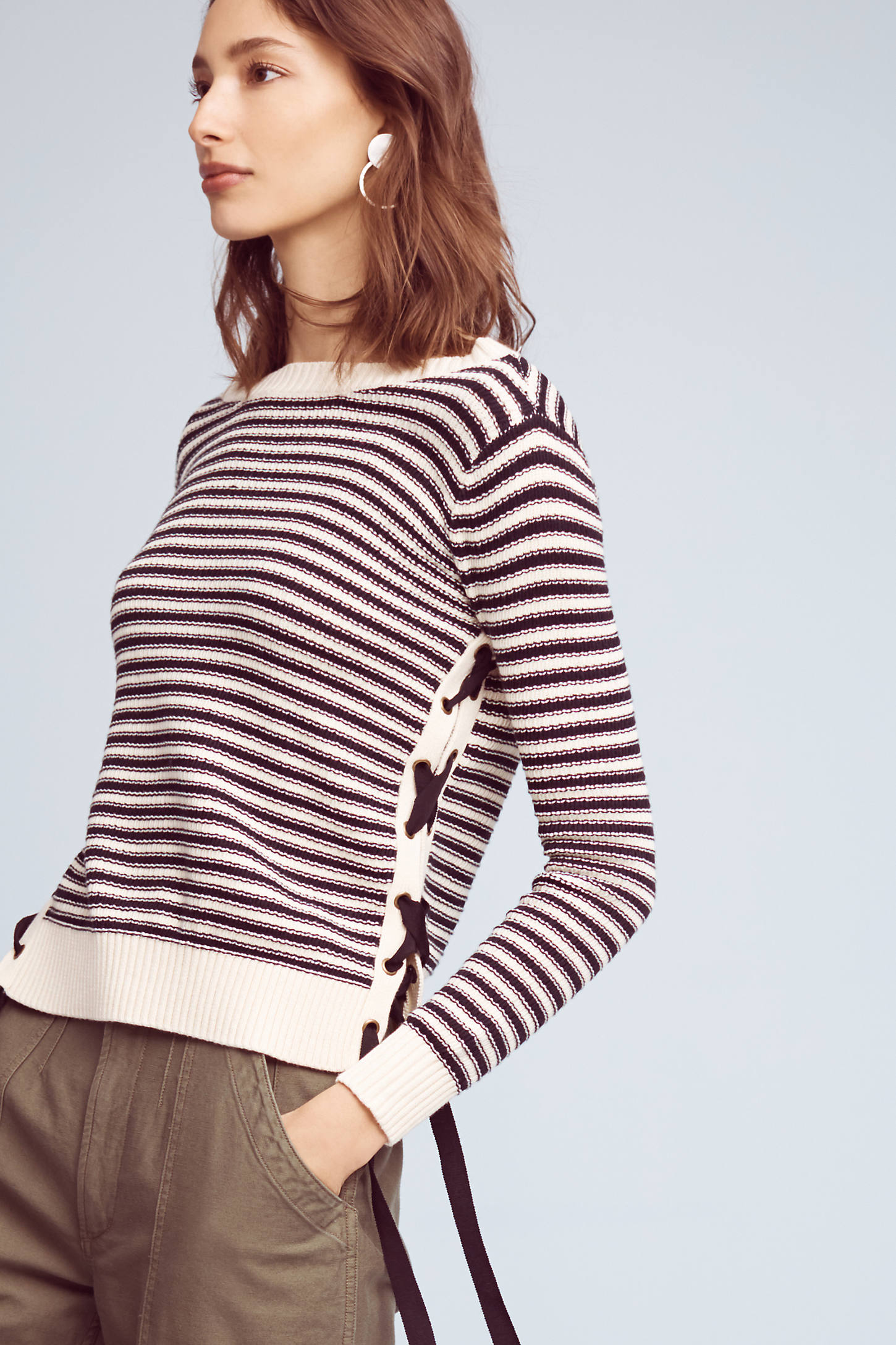 Ribboned & Striped Sweater