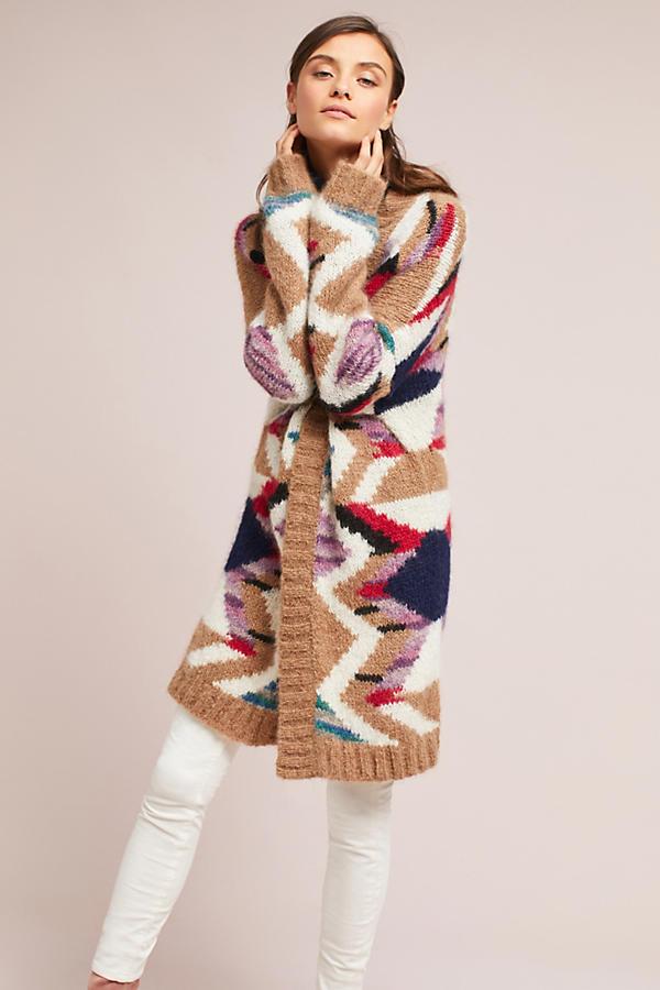 Hand-Knit Mosaic Cardigan