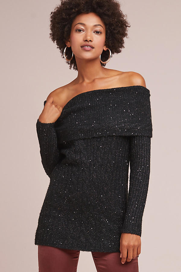 Sparkle Off-The-Shoulder Pullover