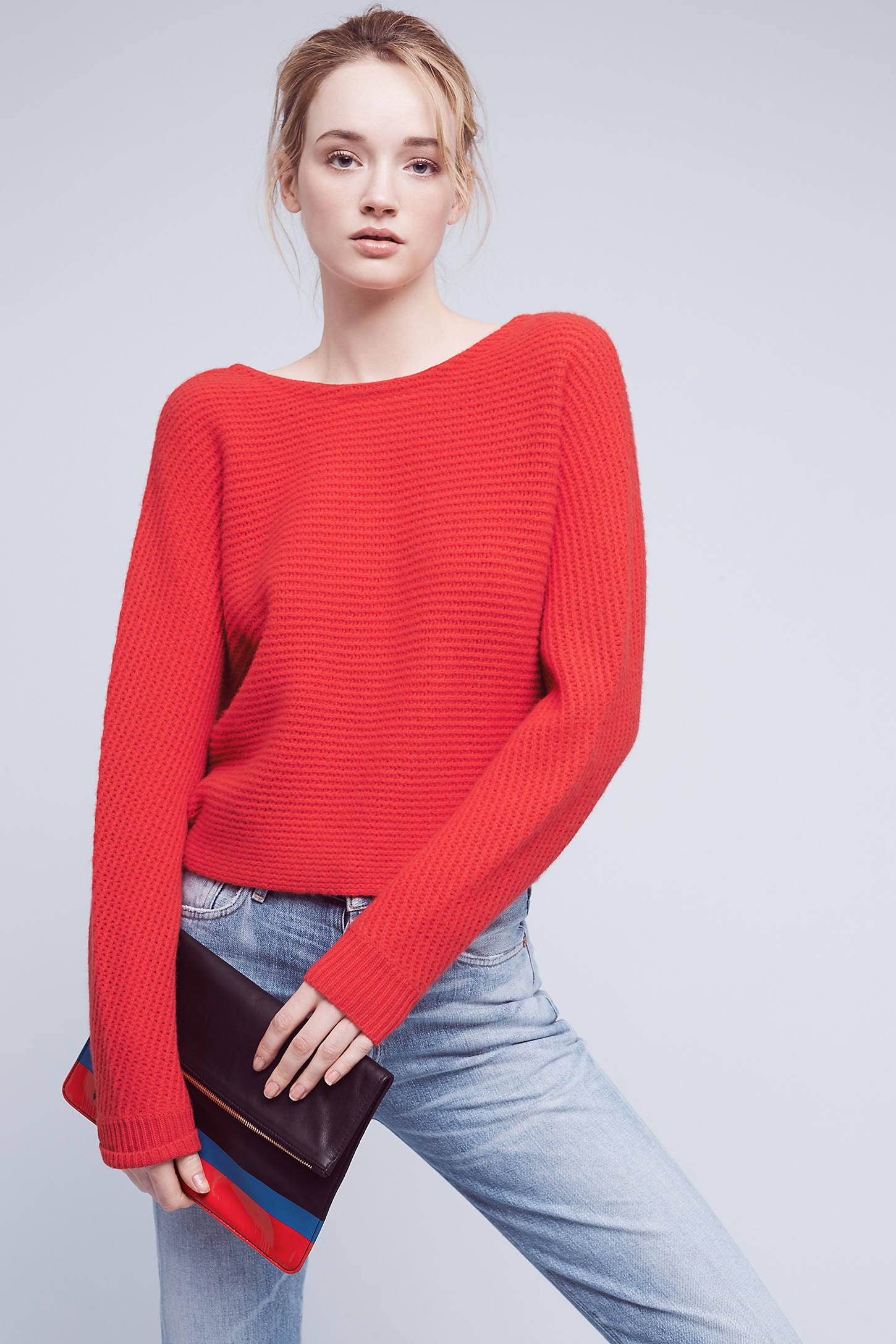 Shana Cashmere Twist-Back Jumper, Red