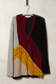 Fringed Colorblock Pullover