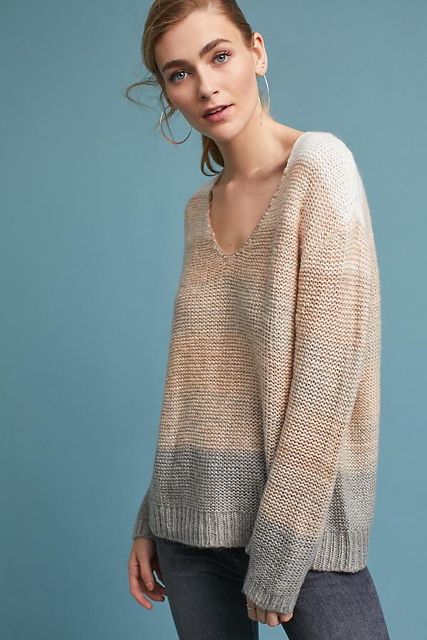 Ombre V-Neck Pullover