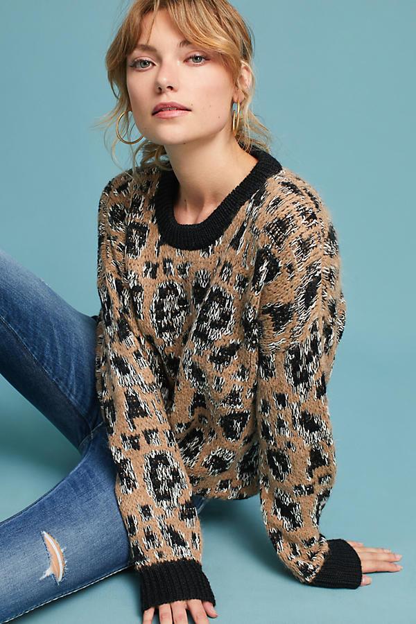 Leopard Intarsia Pullover