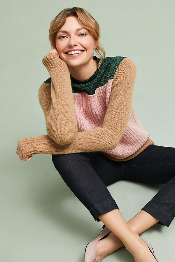 Colorblock Mock Neck Pullover